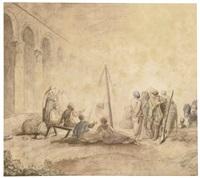figures around a fire by hubert robert