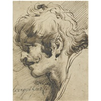 head of a man, with a moustache, turned left by mauro gandolfi