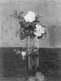 table top still life with flowers in a glass vase by margaretha e. albers