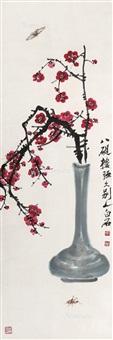 红梅草虫 立轴 设色纸本 (red plum insects) by qi baishi
