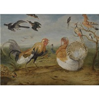 a landscape with a cockerel and a turkey squabbling, and other fowl by jan van kessel