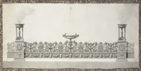 design for an elaborate surtout de table by jean guillaume moitte