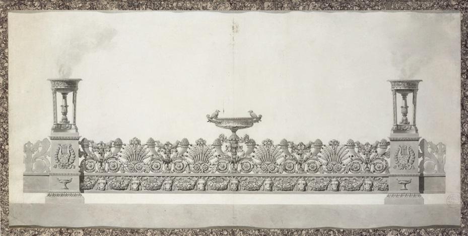 design for an elaborate surtout de table by jean guillaume moitte