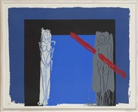 white woman grey man red lino by bruce mclean