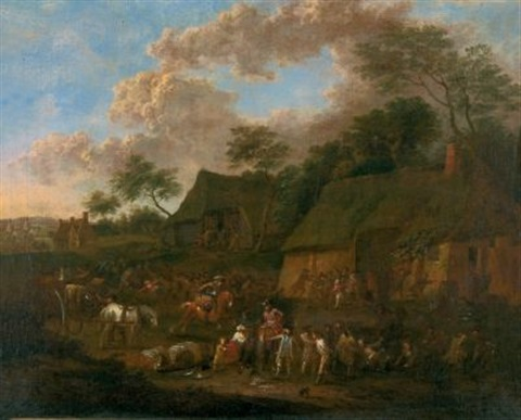 soldaten besetzen ein dorf by jan peter van bredael the younger