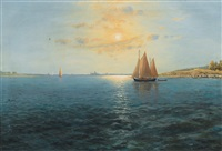 sailing boats in morning light by alexander reich-staffelstein