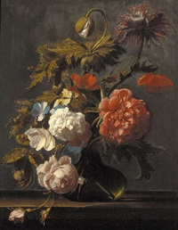 tulips, roses, peonies, poppies and other flowers in a glass vase on a ledge by cornelis kick