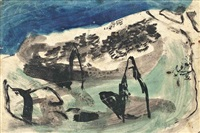landscape with low cliff and woods by graham sutherland