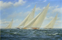 rainbow and endeavour ii lead yankee as they vie for second place behind ranger in the new york yacht club cruise, 1937 by stephen j. renard