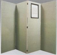paravent à quatre panneaux en tissu vert amande d'un côte et beige de l'autre avec texte sur oksan serti by patrick corillon