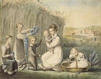emilie von kügelgen with her children by sophie von stackelberg