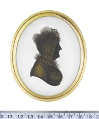 william senhousem, profile to the left, wearing coat and pigtail wig (+ his wife elizabeth, née wood, profile to the right; pair) by john m. field