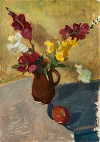 still life with vase of flowers and apple by walter alfred rosam