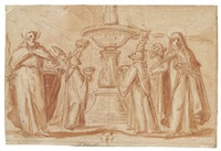 a group of bishops and monks taking water from a fountain by fabrizio boschi