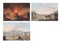 strada de sepolcri a pompeii; tempio di giove con eruzione; and cratere del (3 works) by la pira
