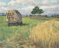 hay wagon near arles by rupert bunny