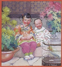 two chinese children with caged bird by gertudre alice kay