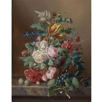 still life of roses, peonies, a tulip and other flowers in a basket with grapes and plums, all on a marble ledge by amalie kaercher