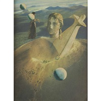 stone head in mountainous landscape by joseph cornell (the family collection)