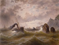seascape and steamer by jules vernier