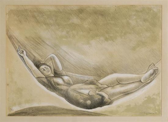 mujer en hamaca by raúl anguiano