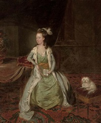 portrait of a lady a book in her left hand, a toy terrier on a stool by her side, in an interior by johann joseph zoffany