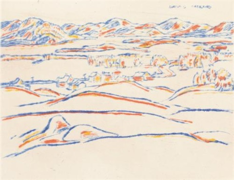 lake placid winter sunset by david brown milne