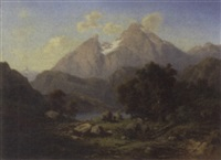 travellers resting in an alpine landscape by henri baumgartner