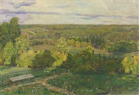 demyanovo. view from the dacha terrace by appolinari mikhailovich vasnetsov