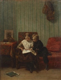 two children reading in an interior by théophile emmanuel duverger