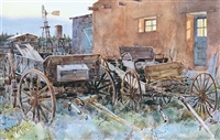 old wagons at twilight by tom hill