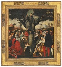 saint anthony of padua is preaching sitting in a walnut tree by bonifazio de pitati