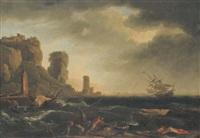 pécheurs et marins sur la côte by jean henry d' arles