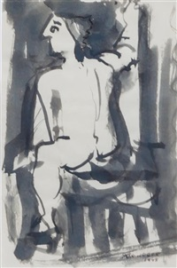 seated nude by max weber