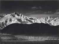 winter sunrise, sierra nevada from lone pine california by ansel adams