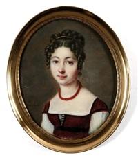 autoportrait en robe carmin et coiffée de boucles by pauline appert