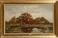 fagoteuses au bord d'un étang en automne by alphonse asselbergs