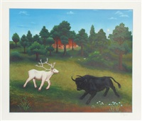 untitled - white deer and bull by ivan generalic