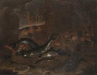 cesto di pesce, anguilla, crostacei e coralli in una grotta by giuseppe recco