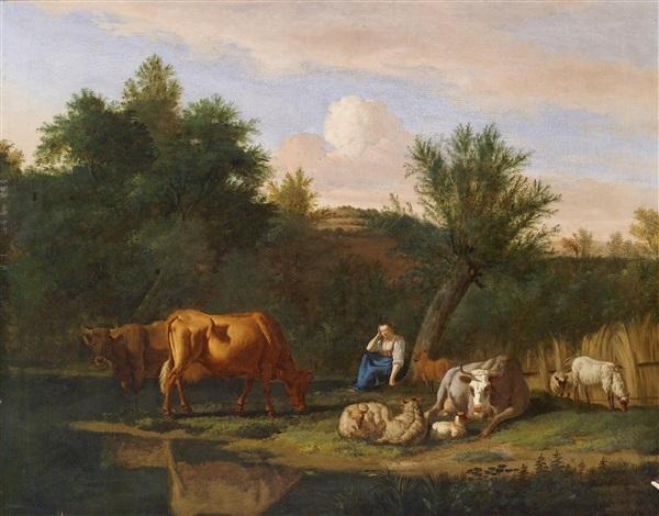 landschaft mit einem hirtenpaar und seiner herde im abendlicht by adriaen van de velde