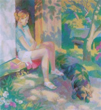 girl with dog by yuri mikhailovich kruglov