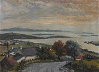coastal landscape with cottages by sydney smith