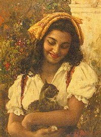 portrait of a girl holding a kitten by luigi amato