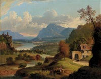 a panoramic view of a valley in the mountains with a river in the distance by michele felice cornè