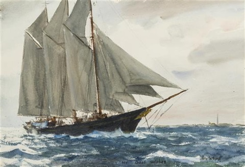 three masted schooner off provincetown by john whorf