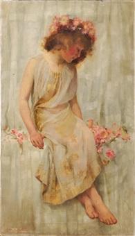 jeune fille à la couronne de fleurs by helen howard hatton