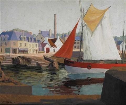harbour in brittany by charles walter harvey