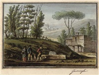 figures in an italian landscape by giacomo quarenghi