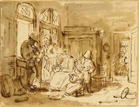 a man lighting a pipe at the entrance of a shoemaker's house by christina chalon
