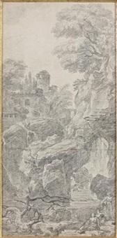 paysage de rivière et rochers avec des maisons by hubert robert